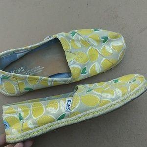TOMS Lemons Canvas Slip On Shoes